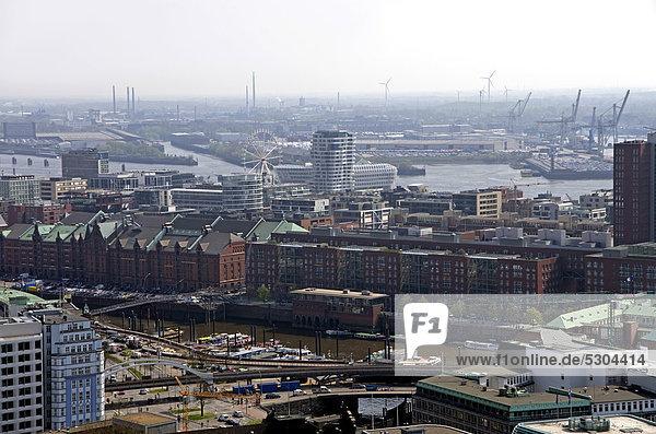 Luftbild der Speicherstadt  Hafen  Hafencity  Hamburg  Deutschland  Europa