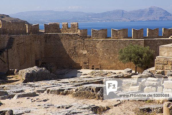 Acropolis of Lindos  Lindos  Rhodes  Greece  Europe