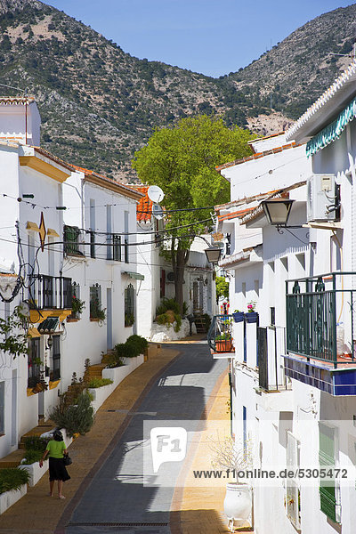 Street in the the town of Benalmadena  Costa del Sol  Andalusia  Spain  Europe