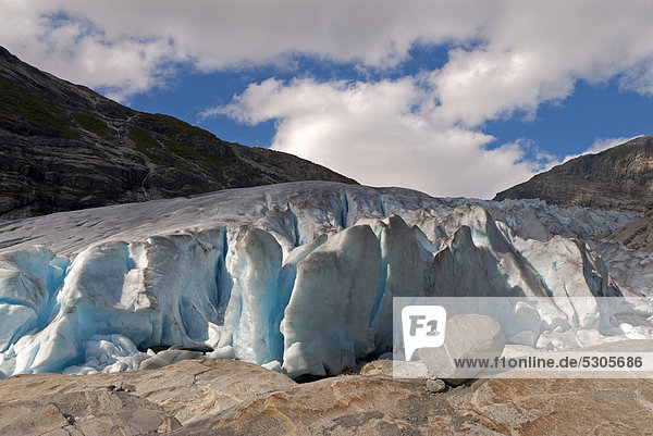Detail of Nigardsbreen  a glacier arm of the huge Jostedalsbreen glacier in the Jostedalen valley  Norway  Europe