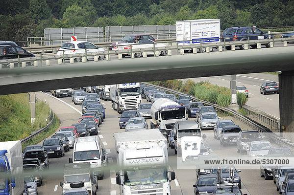 Congestion of traffic on the A8 motorway near the Degerloch exit  travelling to Munich  looking towards Karlsruhe  Stuttgart  Baden-Wuerttemberg  Germany  Europe