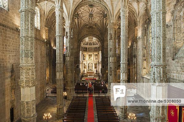 Santa Maria Kirche  Mosteiro dos JÈronimos  Hieronymus Kloster  Unesco Weltkulturerbe  Belem Viertel  Lissabon  Portugal  Europa