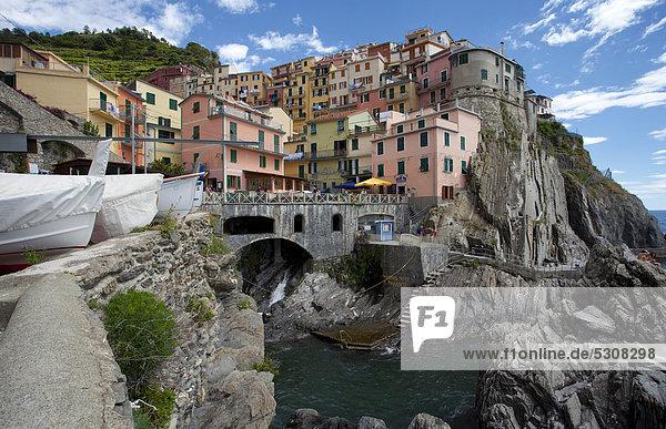 Nationalpark Hafen Europa Dorf angeln UNESCO-Welterbe Cinque Terre Italien Ligurien Manarola Provinz La Spezia