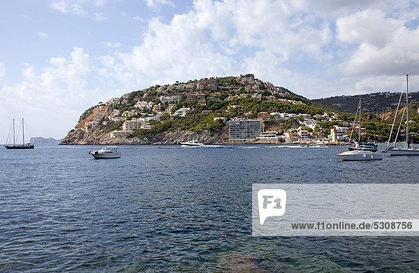 Europa Boot Andratx Balearen Balearische Inseln Bucht Mallorca Spanien