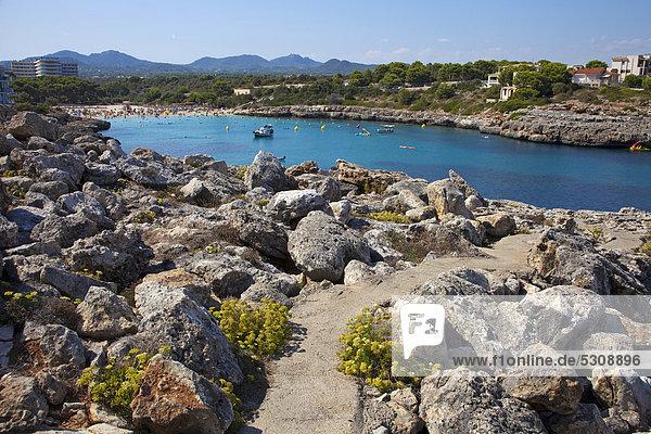 Europa Strand Balearen Balearische Inseln Bucht Mallorca Mittelmeer Spanien