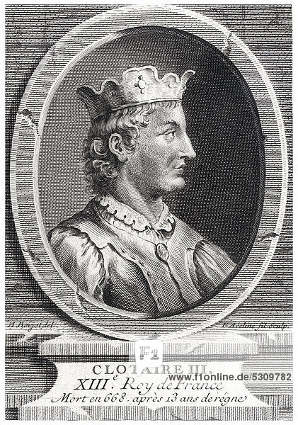 Historical steel engraving from the 19th Century  portrait  Chlothar III or Clotaire III  King of the Franks from the house of the Merovingians  7th Century
