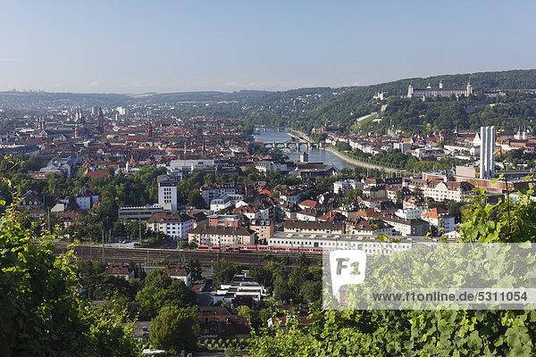 Blick vom Steinberg über Altstadt und Main  Würzburg  Unterfranken  Franken  Bayern  Deutschland  Europa  ÖffentlicherGrund