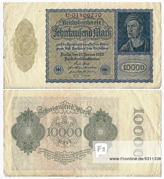 Alte Banknote  Vorderseite und Rückseite  Reichsbanknote 10.000 Mark Reichsbankdirektorium  um 1922