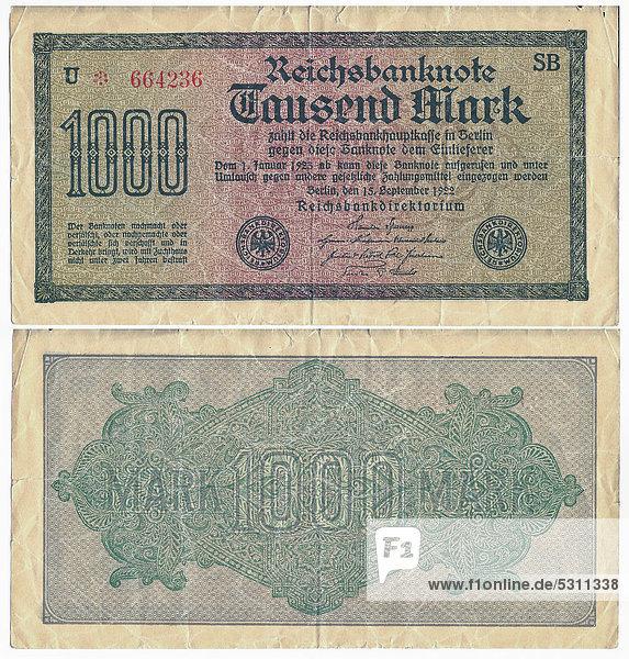 Alte Banknote  Vorderseite und Rückseite  Reichsbanknote 1.000 Mark Reichsbankdirektorium  um 1922