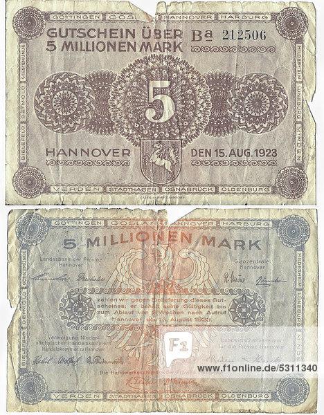 Alter Gutschein über 5.000.000 Mark  Vorderseite und Rückseite  Girozentral Hannover  um 1923