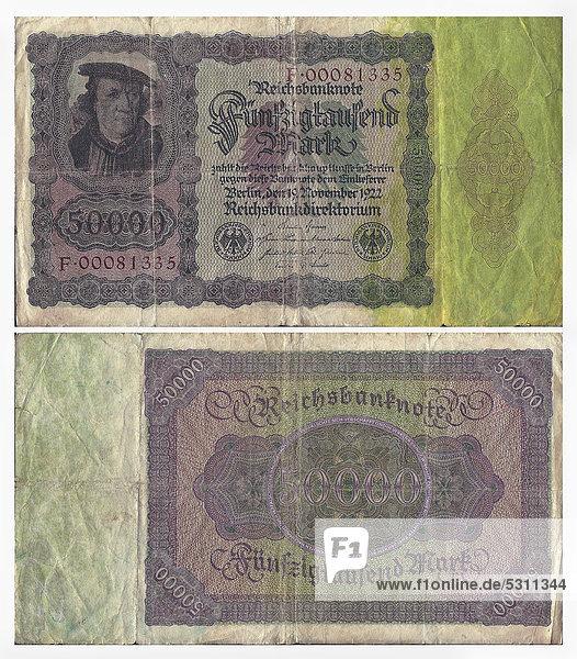Alte Banknote  Vorderseite und Rückseite  Reichsbanknote 50.000 Mark Reichsbankdirektorium  um 1922