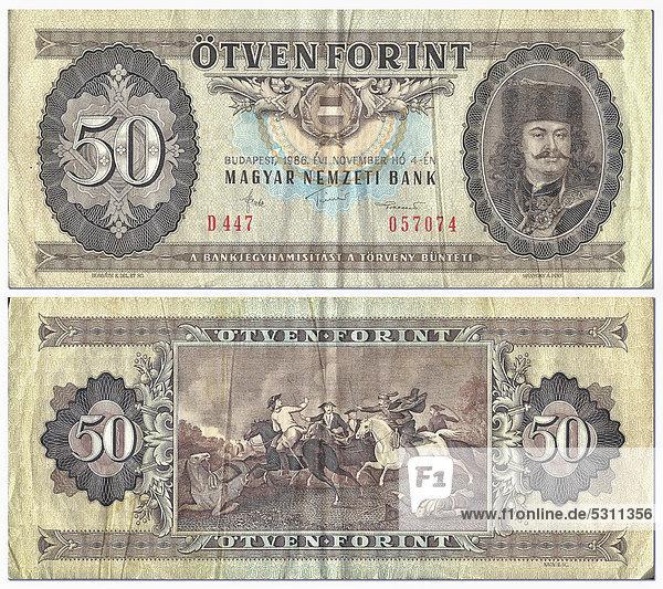 Alte Banknote  Vorderseite und Rückseite  50 Forint  Ungarn  Magyar Nemzeti Bank