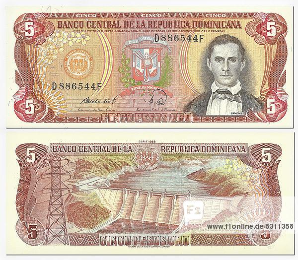 Alte Banknote  Vorderseite und Rückseite  5 Pesos Oro  Dominikanische Republik  Banco Central Republica Dominicana