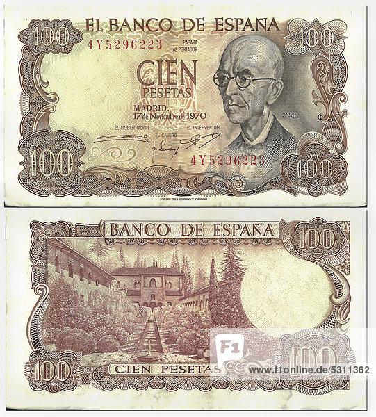 Alte Banknote  Vorderseite und Rückseite  100 Pesetas  Spanien  Banco de Espana  um 1970