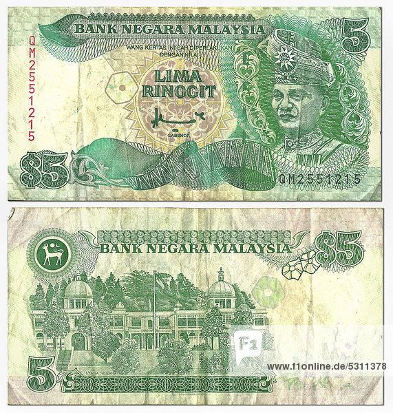 Alte Banknote  Vorderseite und Rückseite  5 Ringgit  Malaysia  Bank Negara Malaysia
