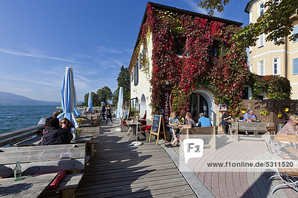 Seehaus Cafe on lake Tegernsee  Upper Bavaria  Bavaria  Germany  Europe  PublicGround