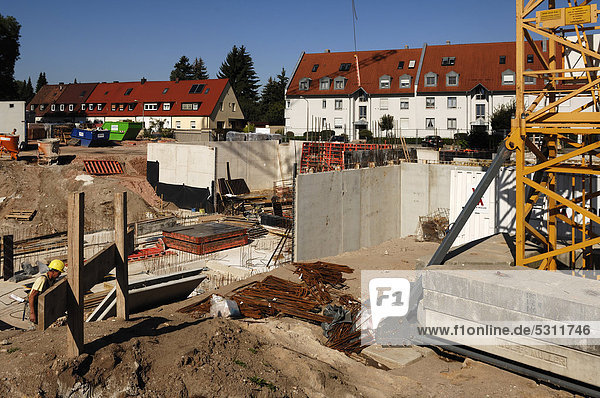 Cellar construction on a large construction site  Nuremberg  Middle Franconia  Bavaria  Germany  Europe