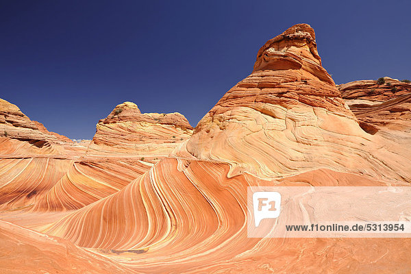 The Wave  banded eroded Navajo sandstone rocks with Liesegang Bands  Liesegangen Rings  or Liesegang Rings  North Coyote Buttes  Paria Canyon  Vermillion Cliffs National Monument  Arizona  Utah  USA