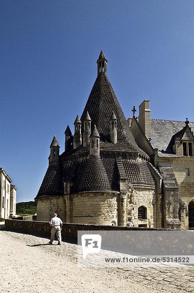 Abteiküche des Klosters Abbaye de Fontevraud  erbaut 1105 bis 1160  Fontevraud-líAbbaye  Loiretal nahe Saumur  Maine-et-Loire  Frankreich  Europa