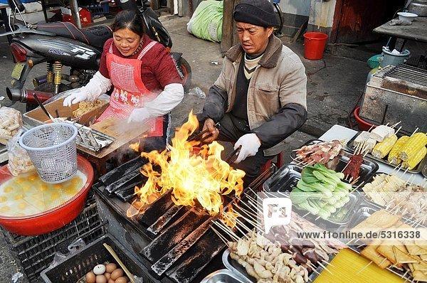 kochen  Straße  Basar  Bratspieß  Spieß  China  Markt  Shanghai