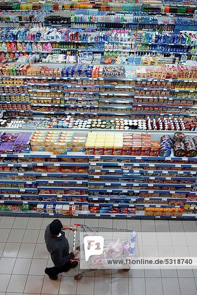 Kunde  Ansicht  Erhöhte Ansicht  Aufsicht  heben  Supermarkt
