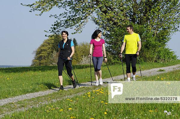 Nordic Walking Gruppe  mit Sport-Coach  Trainer