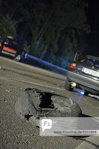 Crash site  a torn off wheel with the wheel suspension  Remseck  Baden-Wuerttemberg  Germany  Europe