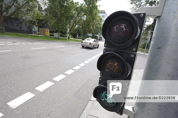 A green bike traffic light  Stuttgart  Baden-Wuerttemberg  Germany  Europe