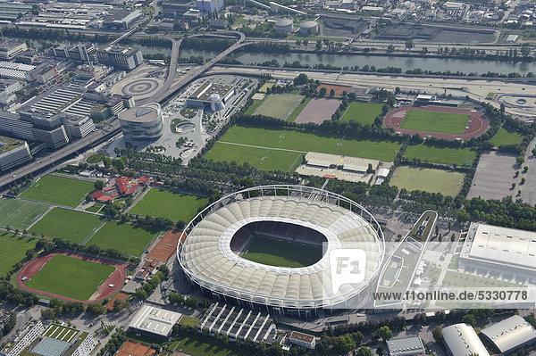 Aerial view  Neckarpark  VfB Stuttgart football stadium  Mercedes-Benz-Arena  Stuttgart  Baden-Wuerttemberg  Germany  Europe