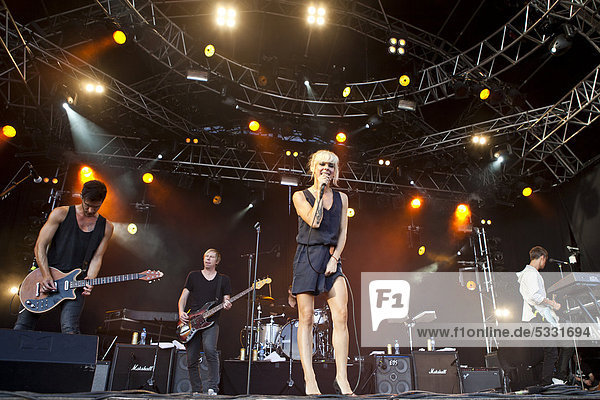 Swedish band The Sounds performing live at the Heitere Open Air festival in Zofingen  Switzerland  Europe