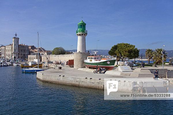 Hafen Frankreich Europa Eingang Leuchtturm Südfrankreich