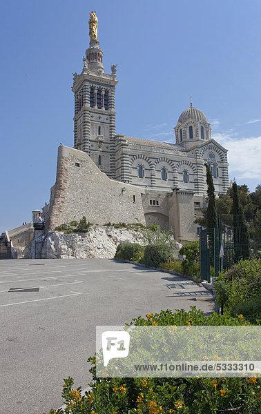 Notre-Dame de la Garde  Wallfahrtskirche und Wahrzeichen der Stadt  römisch-byzantinischer Stil  Marseille  Bouches-du-Rhone  Provence-Alpes-CÙte díAzur  Südfrankreich  Frankreich  Europa