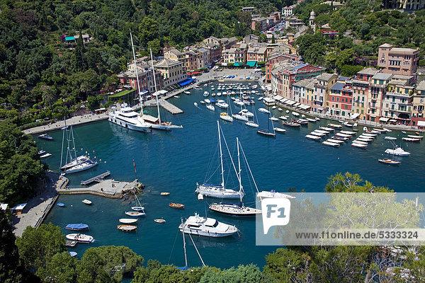 Hafen Motorjacht Europa Reichtum Italien Ligurien Mittelmeer Portofino