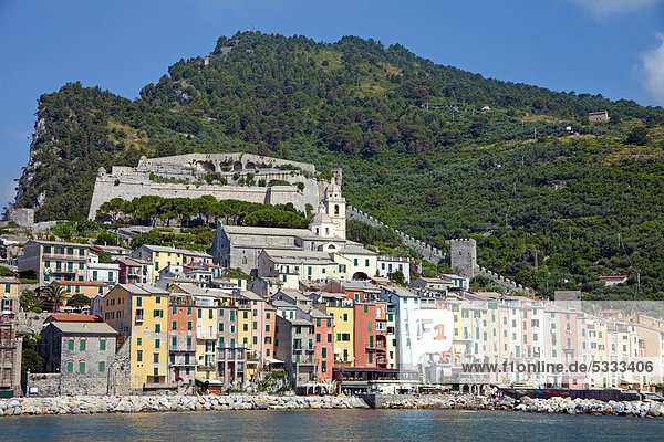 Europa klein Insel Ansicht UNESCO-Welterbe Italien Ligurien Portovenere Provinz La Spezia