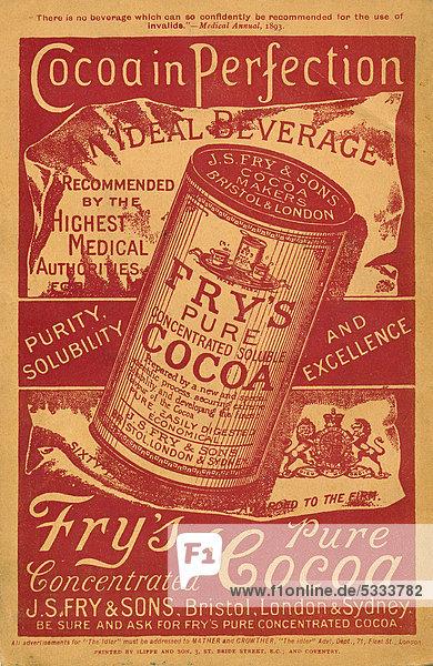 Historische englische Anzeigenwerbung für Fry's pure Cocoa Kakao  aus The Idler  Merritt & Hatcher  London von 1893  England  Großbritannien  Europa Historische englische Anzeigenwerbung für Fry's pure Cocoa Kakao, aus The Idler, Merritt & Hatcher, London von 1893, England, Großbritannien, Europa