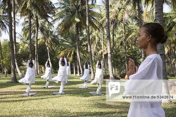 Gruppe-Yoga-Session auf dem Rasen im JAX Retreat in der Nähe von Bangalore  Indien