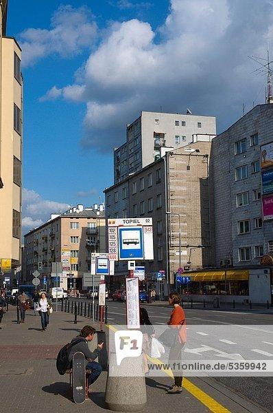 Warschau Hauptstadt Europa Straße Ende Omnibus Mittelpunkt Polen einstellen