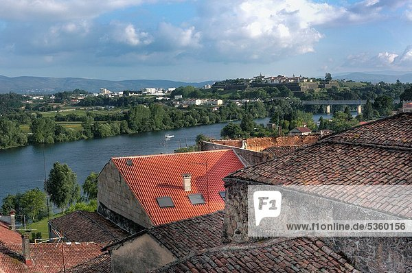 View of Minho River and Portuguese town of Valenca  Tui  Galicia  Spain