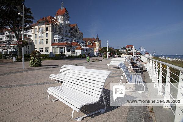 Beach promenade  Baltic resort Kuehlungsborn  Mecklenburg-Western Pomerania  Germany  Europe  PublicGround