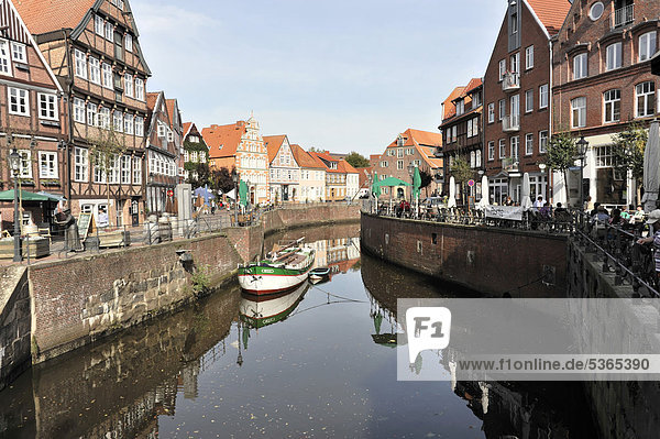 Half-timbered houses on the Hanseatic port  Hanseatic town of Stade  Lower Saxony  Germany  Europe