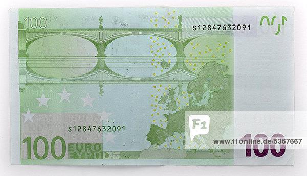 100 euro geldschein banknote r ckseite lizenzpflichtiges bild bildagentur f1online 5367667. Black Bedroom Furniture Sets. Home Design Ideas
