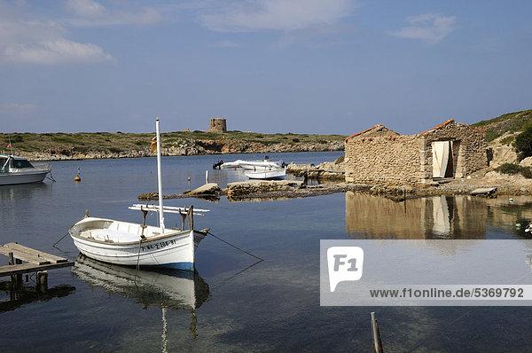 Boat Sa Nitja  Punta de sa Torre  Menorca  Balearic Islands  Spain  Europe