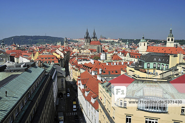 Panoramic view as seen from the Powder Tower  historic district  Prague  Bohemia  Czech Republic  Europe  PublicGround