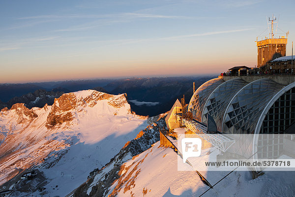 Europe  Germany  Bavaria  Wetterstein Range  View of weather station and platform on the mountain Zugspitze