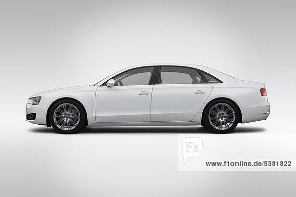 2012 Audi A8 L 4.2 Quattro in weiß - Treiber Seite Profil