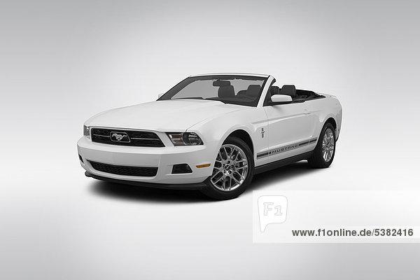 weiß frontal Ansicht Flachwinkelansicht Winkel Ford Mustang