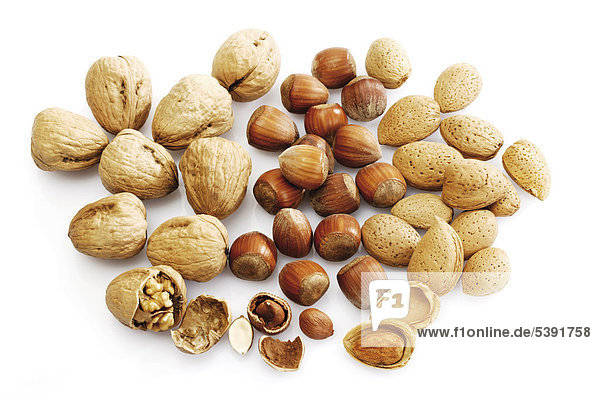 Frische Nüsse: Walnüsse  Haselnüsse und Mandeln