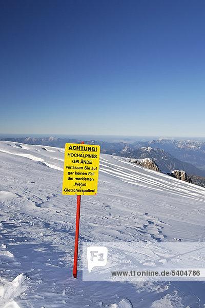 Danger sign  ice crevices on the Dachstein Glacier  Ramsau  Styria  Austria  Europe