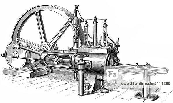 19 jahrhundert aus meyers konversations lexikon von 1890 dampfmaschine die in dampf. Black Bedroom Furniture Sets. Home Design Ideas