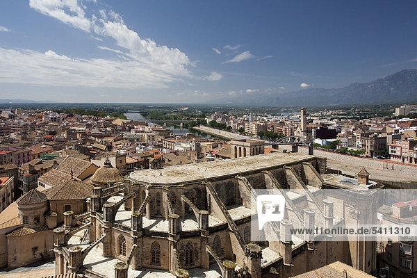 Spain  Europe  Tarragona  Tortosa  City  Cathedral  Ebro  river  bridge  roofs